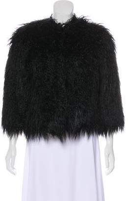 Theory Collarless Faux Fur Jacket