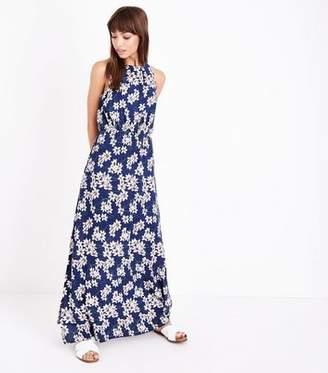 Yumi Blue Floral High Neck Maxi Dress