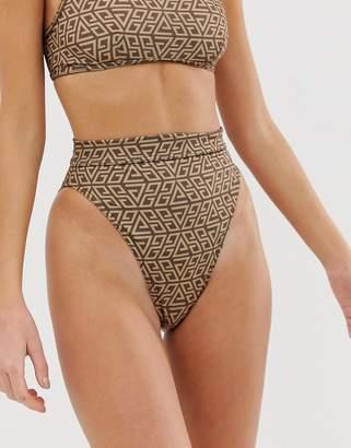 cd2601315dbd3 Asos Design DESIGN recycled skinny bind high leg high waist bikini bottom  in tonal graphic print