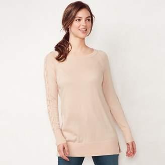 Lauren Conrad Women's Lace-Up Sleeve Tunic Sweater