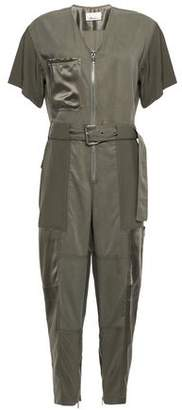 3.1 Phillip Lim Cropped Satin-trimmed Tencel And Cotton-blend Jumpsuit