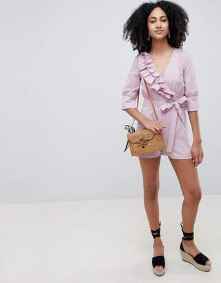 Lost Ink Wrap Front Playsuit With Tie Waist In Ditsy Spot Print