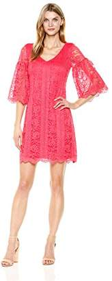 Julian Taylor Women's All Over Lace a-Line V-Neck Dress