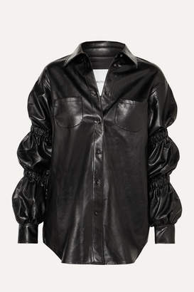 Pushbutton - Ruched Faux Leather Shirt - Black