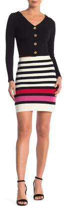 Dee Elly Striped Ribbed Sweater Skirt