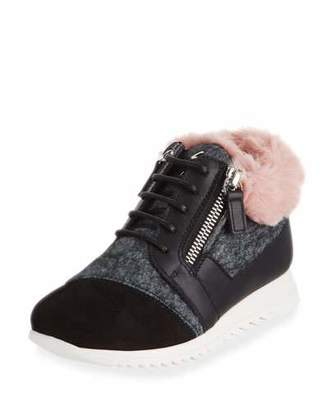 Giuseppe Zanotti Mixed Material Faux Fur-Trim Sneakers, Toddler/Kids