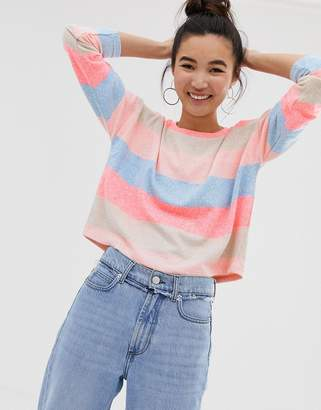 New Look top with neon stripes in multi
