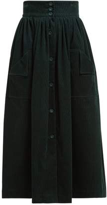 The Vampire's Wife Visiting Button Front Cotton Corduroy Midi Skirt - Womens - Dark Green