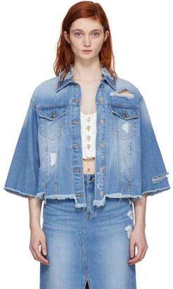 Sjyp Blue Reverse Detail Denim Jacket