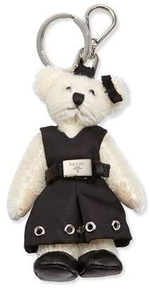 Prada Marlene Teddy Bear Charm for Handbag, White/Black (Bianco/Nero)