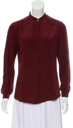 Burberry Silk Long Sleeve Button-Up Top
