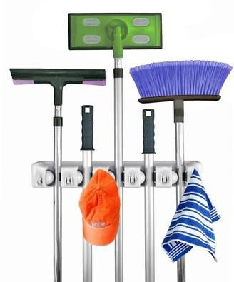b-ROOM MY'S Non-slip Mop Broom Holder Tool Rack with Hooks, Wall Mounted Tool Storage System ,Garage/Storage/Home/Garden/Kitchen/Washroom... Utility Tool Organizer