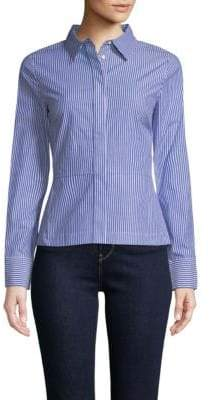 Derek Lam 10 Crosby Peplum Lace-Back Collared Shirt