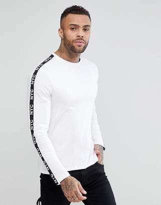 New Look Long Sleeve Top With Tape Detail In White
