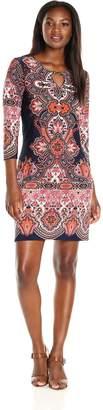Tiana B Women's Border Paisley Printed Jersey Dress