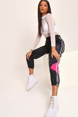 I SAW IT FIRST Black/Pink Colourblock Shell Joggers
