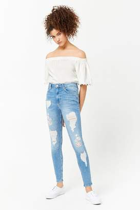 Forever 21 Distressed Floral-Embroidered Jeans