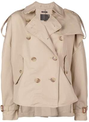 R 13 Double-breasted Cotton-blend Asymmetric Trench Jacket