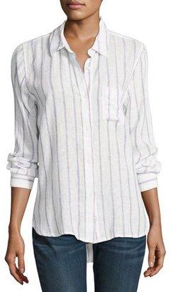 Rails Charli Striped Long-Sleeve Shirt, White/Lilac $148 thestylecure.com