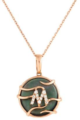 """Frederic Sage 14k Pg Mini Rd Black Mop and Dia Luna Initial """" m"""" Pendant With Chain"""