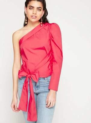 Miss Selfridge Red asymmetric puff sleeve top