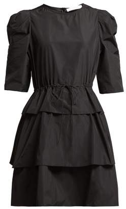 See by Chloe Tiered Tie Waist Mini Dress - Womens - Black