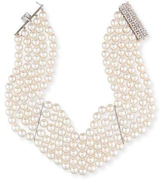 Assael 18K Five-Strand Akoya Pearl Choker Necklace with Diamonds