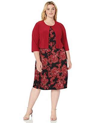 Julian Taylor Women's Plus Size Two Piece 3/4 Sleeve Short Jacket and Midi Dress