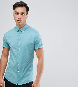 Asos Design DESIGN Tall skinny oxford shirt in green with short sleeves