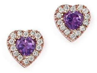Bloomingdale's Amethyst and Diamond Heart Earrings in 14K Rose Gold - 100% Exclusive