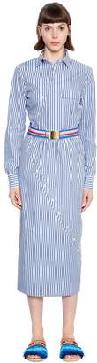 Stella Jean Twisted Striped Cotton Shirt Dress