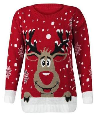 Christmas Jumper Women KNITTED XMAS CHRISTMAS RUDOLF REINDEER JUMPER-S/M