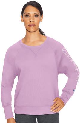 Champion Fleece Graphic Long Sleeve Crew Neck T-Shirt-Womens