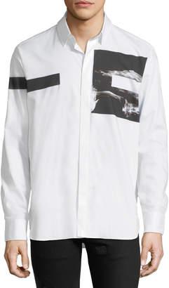 Neil Barrett Liquid Ink Square Short-Sleeve Sport Shirt, White/Black