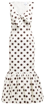 Rebecca De Ravenel Polka Dot Print Cotton Poplin Midi Dress - Womens - White Multi