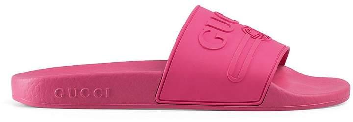 Gucci Women's Pursuit Rubber Slide Sandals - Pink