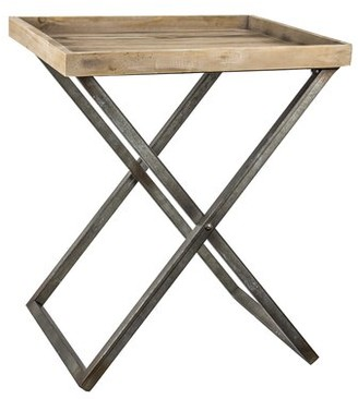 Gracie Oaks Delicia Decor Wood and Metal Folding Card Tray Table Gracie Oaks