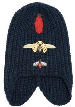 Gucci Insect Embroidered Wool Beanie Hat - Mens - Navy