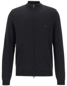 BOSS Knitted sweater in cotton with two-way front zip