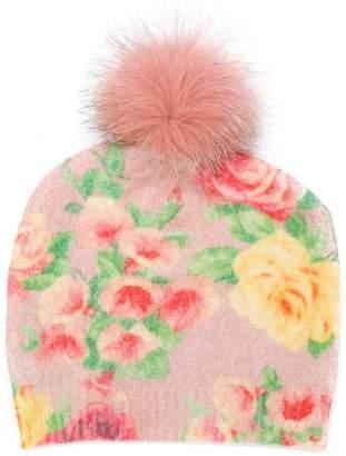 Blumarine knit rose print beanie