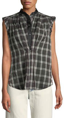 Marc Jacobs Sleeveless Cap-Sleeve Plaid Cotton Top w/ Collar