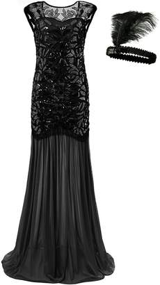 General Women 's 1920s Sequin Maxi Long Evening Prom Party Dress (, XL)