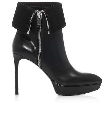 High heel leather ankle boots