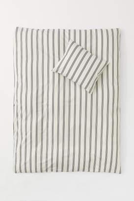 H&M Striped Duvet Cover Set - White