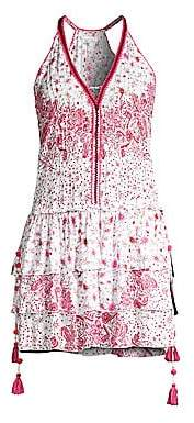 Poupette St Barth Women's Betty Floral Print Tassel Halter Mini Dress