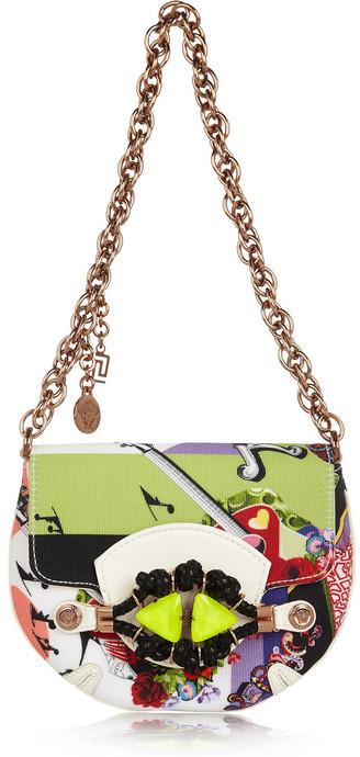 Versace Printed grosgrain and leather shoulder bag
