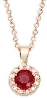 Effy 14K Rose Gold Ruby & Diamond Sunburst Pendant Necklace