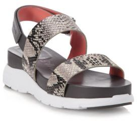Cole Haan ZeroGrand Snake-Embossed Leather Slingback Sandals $160 thestylecure.com