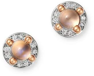 Pomellato 18K Rose Gold M'ama non M'ama Moonstone & Diamond Stud Earrings