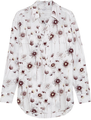 Equipment - Knox Lace-up Floral-print Washed-silk Shirt - White $280 thestylecure.com